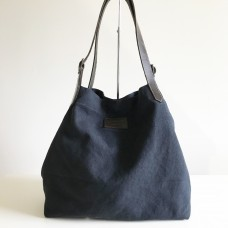 Canvas Tote Bag - CHARCOAL - Buffalo Leather Straps