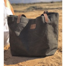 WAXED Canvas Tote Bag - OLIVE GREEN - Leather Straps