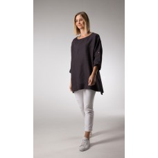 Linseed Linen Tunic Top CHARCOAL