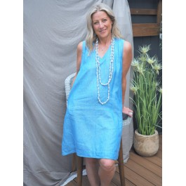 Linseed Designs ocean blue linen Kelli dress