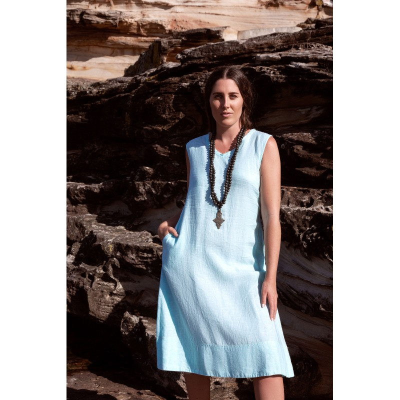 Linseed Designs aqua linen Victoria midi dress