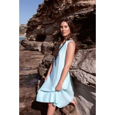 Linseed Designs aqua linen Victoria midi dress