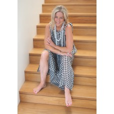 Linseed Designs linen Maxi dress  black/white check
