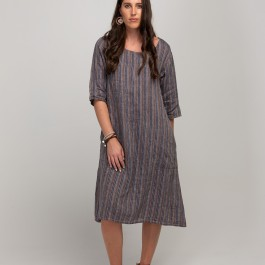 Amber Dress - Stripe - navy/tan/white
