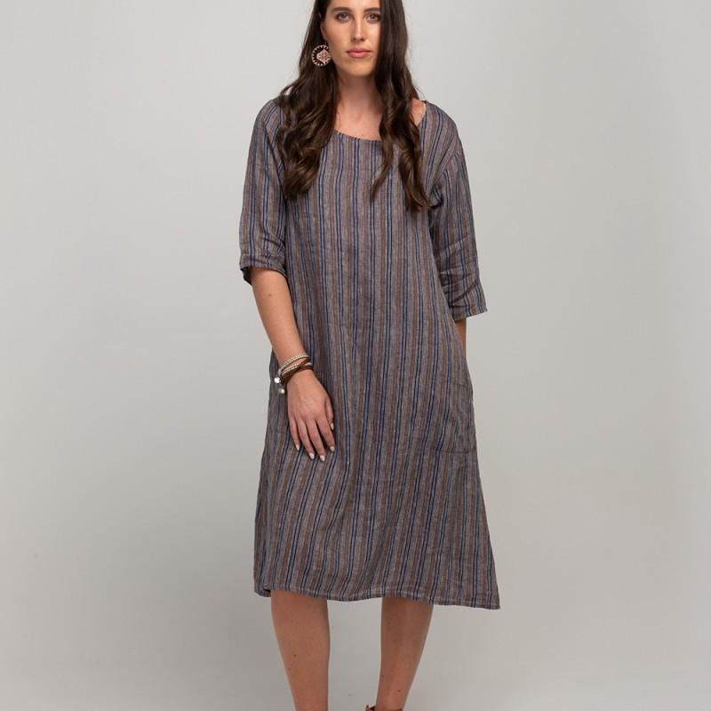Amber Dress - Stripe - navy/tan/white