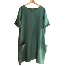 Ashley Linen Dress -  GREEN