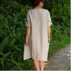 Ashley Linen Dress -  natural