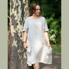 Ashley Linen Dress -  natural