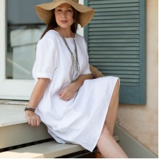 Ashley Linen Dress -  WHITE