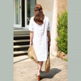 Ashley Linen Dress -  WHITE