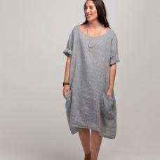 Ashley Linen Dress -  light grey