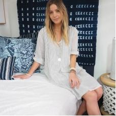 Harper Striped Linen Shirt Dress