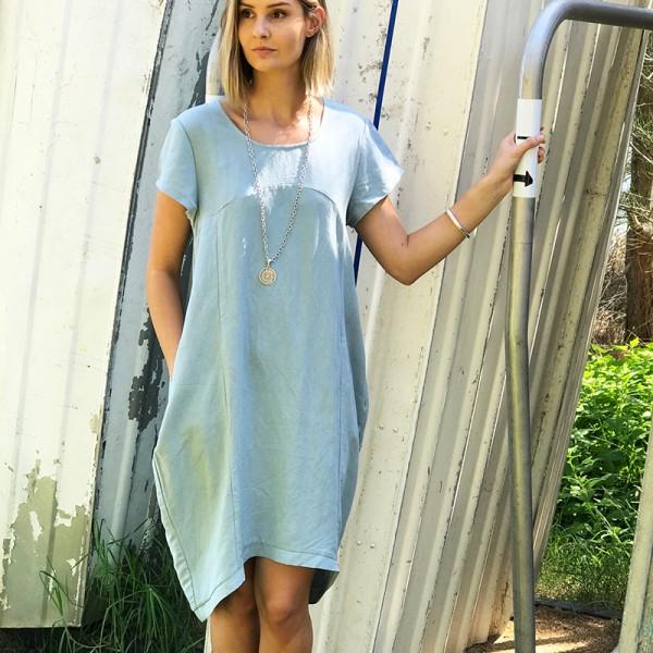 331dfa006e Hayley Linen   Cotton Dress - Duck Egg Blue