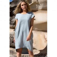 Hayley Linen & Cotton Dress - Duck Egg Blue