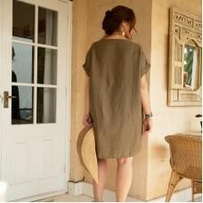 Holly Shift Linen Dress - moss green