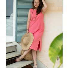 Saki Linen & Cotton Dress - Lily pink