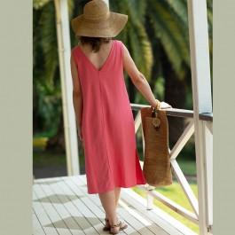 Saki Linen & Cotton Dress - Lily pink