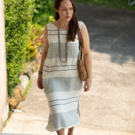 Saki Linen Dress - Striped (horizontal)