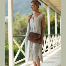 Saki Linen Dress - Striped (vertical)