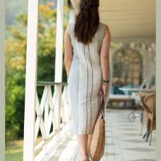 Saki Linen Dress - Striped (vertical)