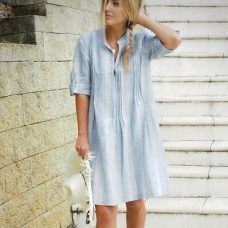 Sara Linen & Cotton Dress - blue stripes