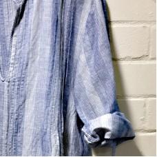 Sara Linen & Cotton Dress - blue stripes