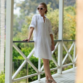 Sara Dress - White - Soft washed 100% linen