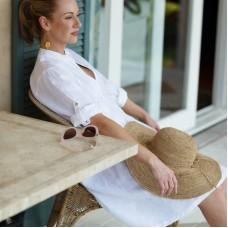 Sara Dress - White - Soft washed 100% linen