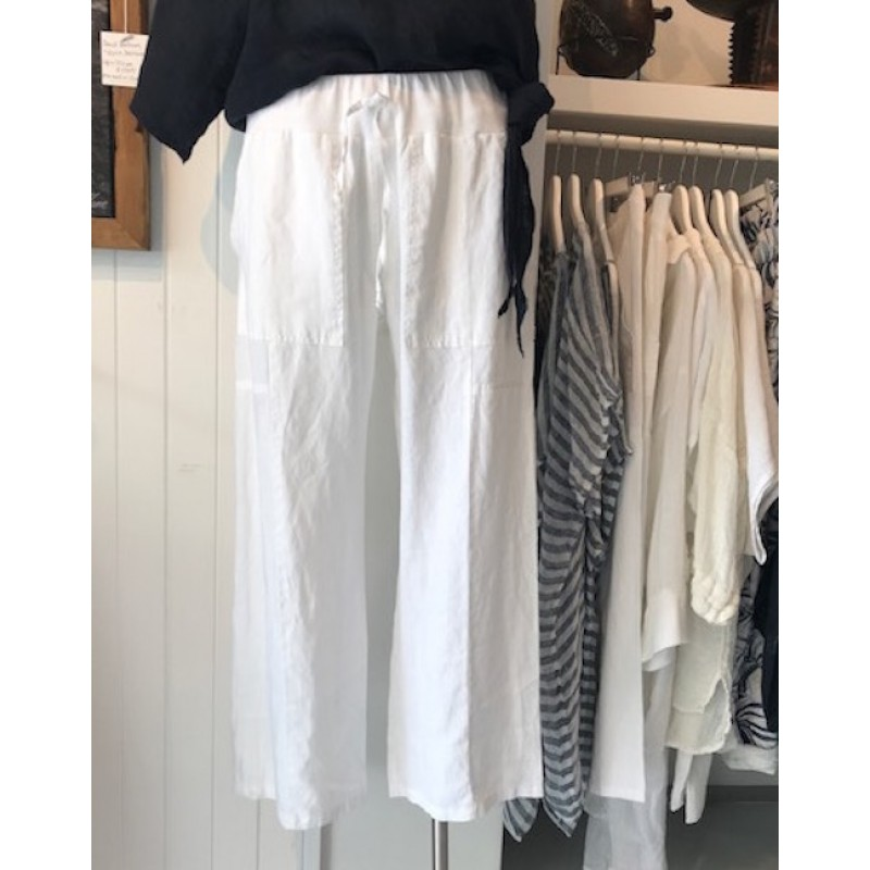 3/4 length linen pant - White