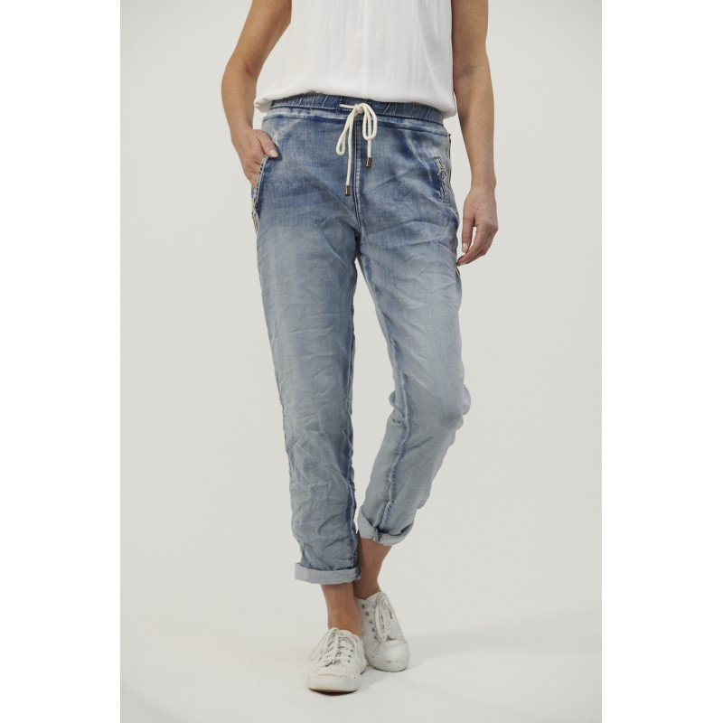 Italian Star Denim Jogger Jeans with gold trim