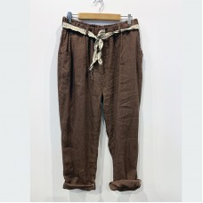 Angie linen pant - Chocolate Brown