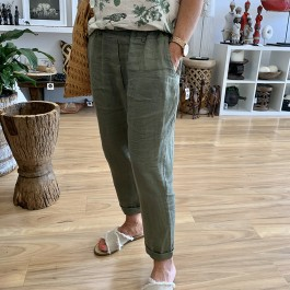Linseed Designs Angie linen pants - Khaki