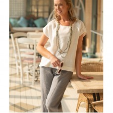 Linseed Designs 3/4 length linen pants - grey