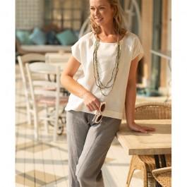 3/4 length linen pant - grey