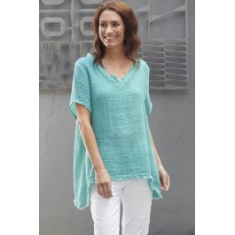 Willow Waffle top  - Teal