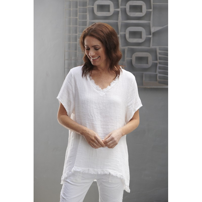 Willow Waffle top  - White
