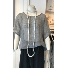 Maggie linen Sheer Top - black and white