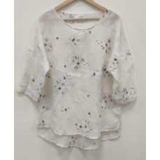 Melanie Linen gauze shirt - Embroidered