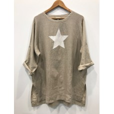 Linseed Linen Tunic Top STONE - Original with white star