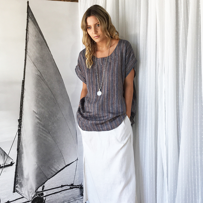 Lily Stripe Linen Top