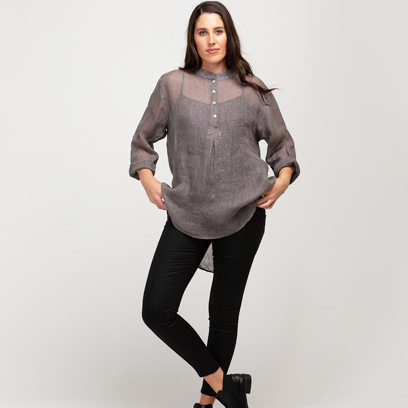 Frankie Linen gauze shirt - pewter
