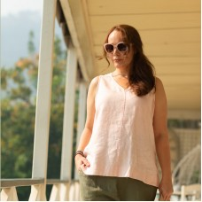Gina - V neck top - Blush