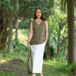 Gina - V neck top - Moss Green