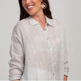 Harper Striped Linen shirt - White/black pin stripe