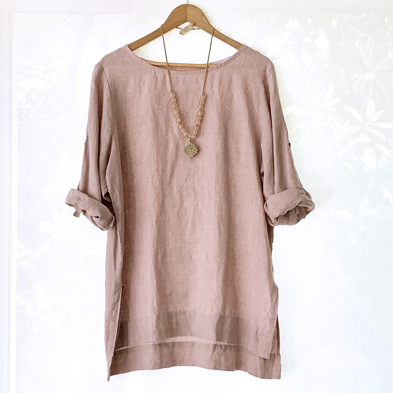 Linseed Linen Tunic Top - DUSTY PINK