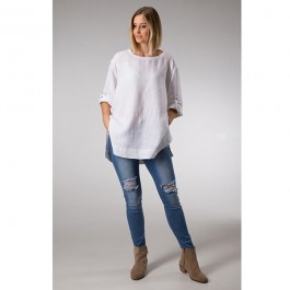 Linseed Designs Linen Tunic Top - WHITE