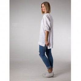Linseed Linen Tunic Top - WHITE