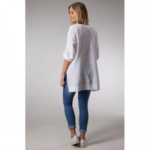 Linseed Linen Tunic Top - WHITE 0c117563c4886