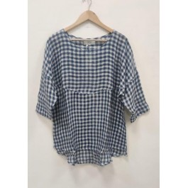 Melanie Linen gauze shirt - Blue and white check