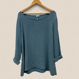 Madison linen/cotton long sleeve top - TEAL BLUE